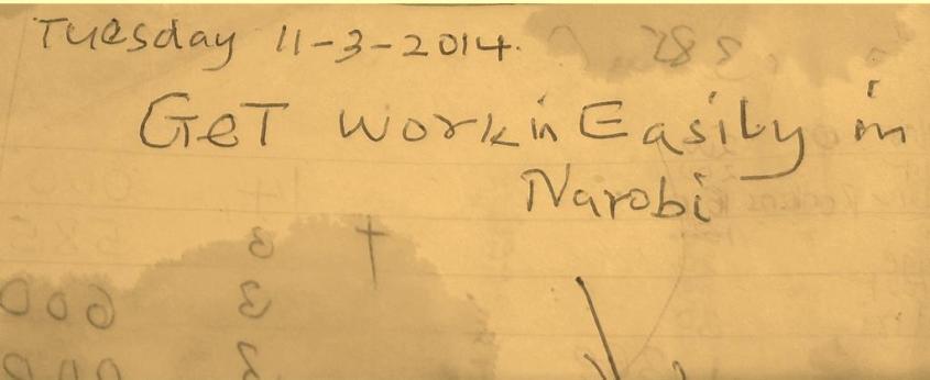 Nakhatandi's note just before leaving to Nairobi.